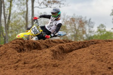 Ashton Hayes #299 finds an outside line around the massive ruts at Martin MX Park