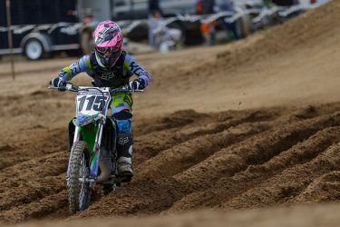 Brianna Scheltema manuvering through the the deep ruts